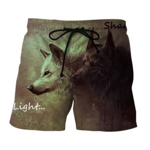 Brown And White Melancholic Wolves Stylish Boardshorts