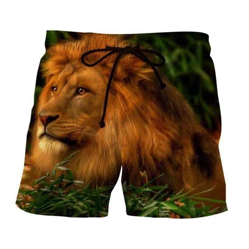Calm Lion King Portrait Majestic Full Print Shorts - Superheroes Gears