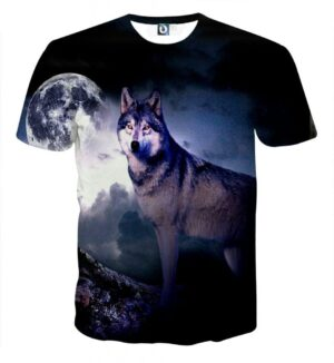 Fantasy Looking Lonely Wolf On A Dark Night Cool T-Shirt