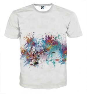 Beautiful Lady And Tiger Abstract Color Splatter T-Shirt
