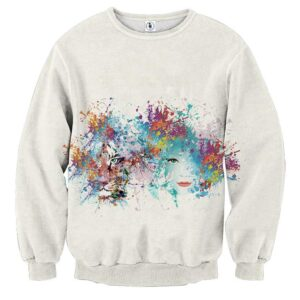 Beautiful Lady And Tiger Artistic Color Splatter Sweatshirt
