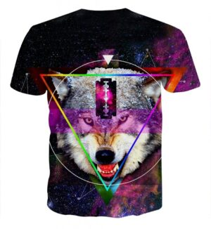 Angry Wolf With Blade Design Aesthetic Galaxy Style T-Shirt