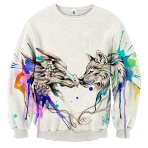 Amazing Lovely Wolf Art Colorful Splatter Trendy Sweatshirt