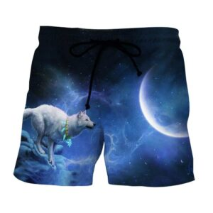 White Wolf Ready To Jump To The Moon Blue Galaxy Boardshorts