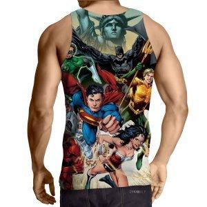 Justice League Superheroes Cool Team Art 3D Printed Tank Top - Superheroes Gears