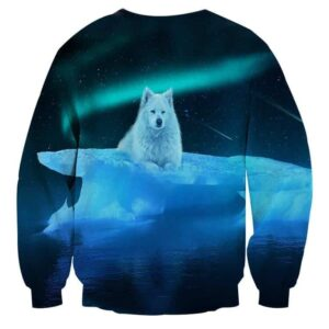 Arctic Wolf On Iceberg Starry Night Sky Stylish Sweatshirt