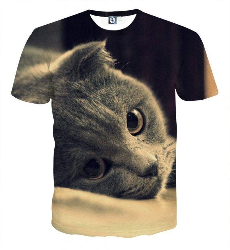 Cute Cat Face Portrait Capturing Image Real Art T-Shirt - Superheroes Gears