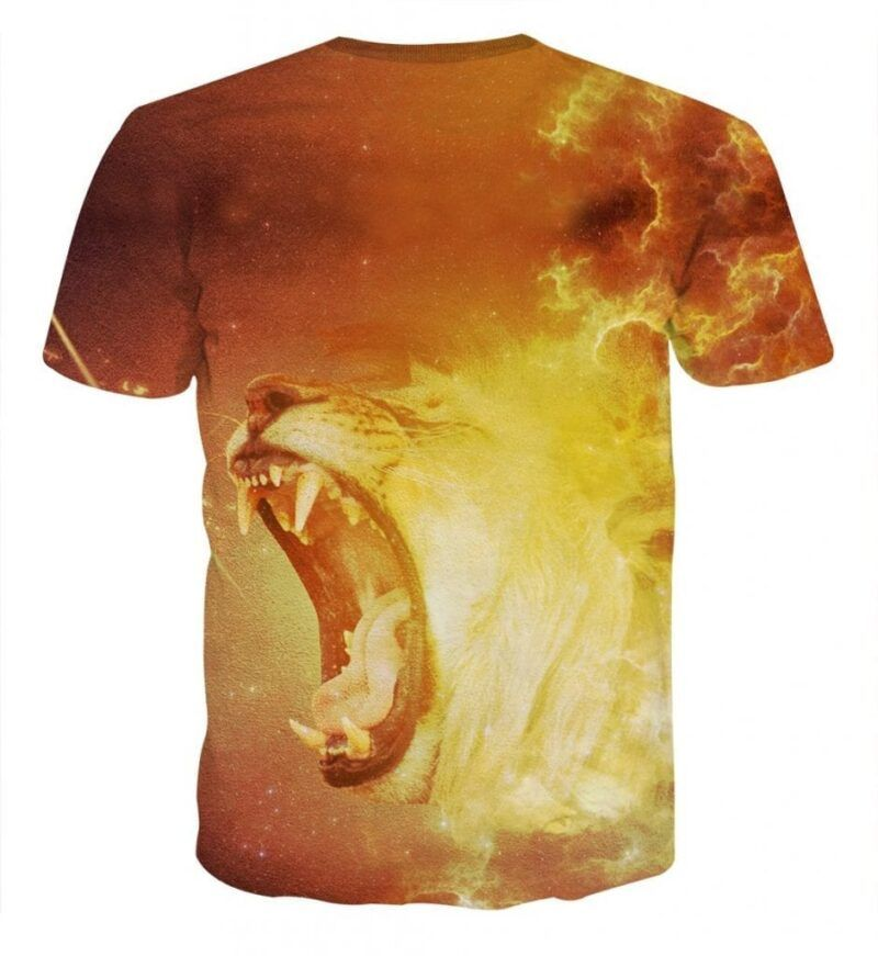 Enraged Scary Tiger Blazing Fire Fashionable Orange T-Shirt