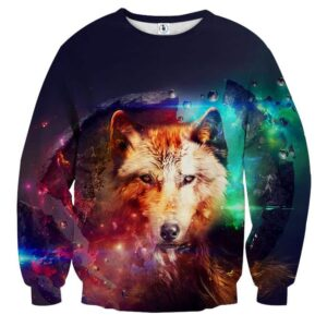 Impressive Wolf With Sharp Eyes Galaxy Colored Sweatshirt