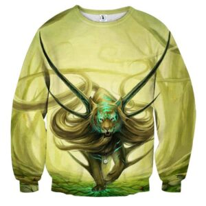 Magical Forest Tiger With Horns Neon Blue Marks Sweatshirt