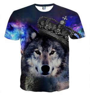 Wolf Wearing Crown Vibrant Galaxy Design Aesthetic T-Shirt