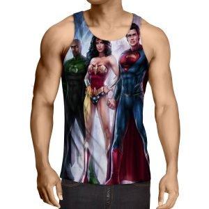 Justice League  Heroes Cool Fan Art Design Full Print Tank Top - Superheroes Gears