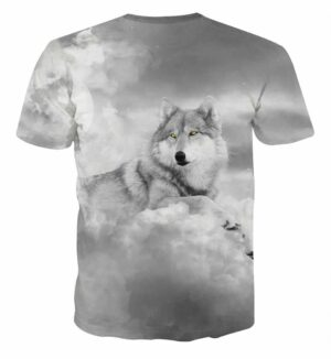 White Fur Wolf Calm Look Cloudy Solid Fashion Grey T-Shirt