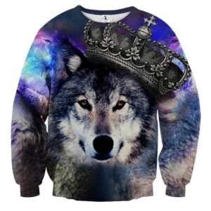 Wolf Wearing Crown Vibrant Galaxy Aesthetic Sweatshirt
