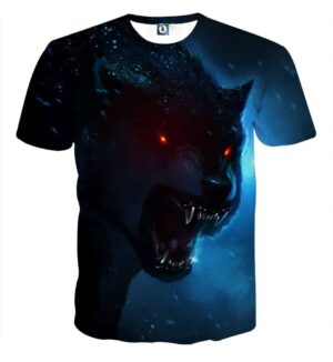 Wolf With Red Eyes And Sharp Teeth Vibrant Blue T-Shirt