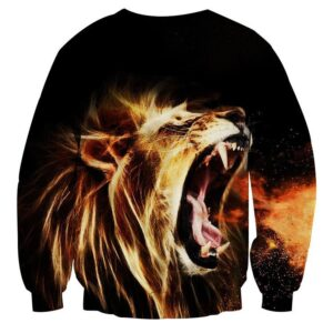 Angry Lion Roar Fire Breath Fantasy Streetwear Sweatshirt - Superheroes Gears