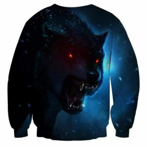 Wolf With Red Eyes And Sharp Teeth Vibrant Blue Sweatshirt