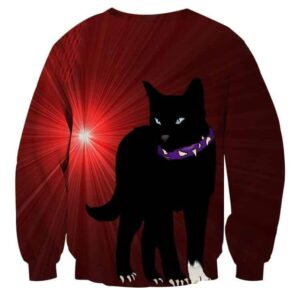 Black Scourge Cat With Red Light Art Design Sweatshirt - Superheroes Gears