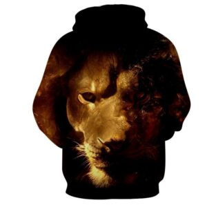Art Style Lion Portrait Wild Animal Urban Wear Hoodie - Superheroes Gears