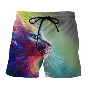 Cat Face Fan Art Drawing Design Vintage Style Shorts - Superheroes Gears