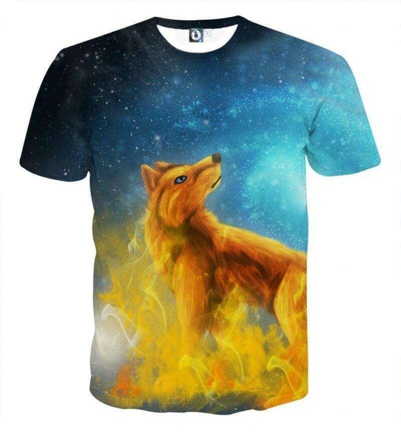 Fantasy Fiery Wolf Vibrant Cold Blue Galaxy Design T-Shirt