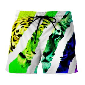 Artistic Vibrant Tiger Design Unique Style Boardshorts
