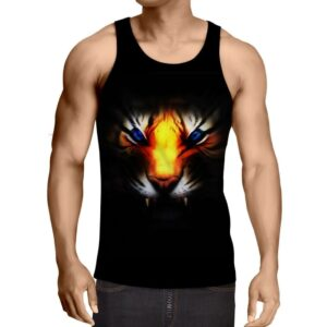 Angry Blue Eyed Tiger With Sharp Teeth Epic Black Tank Top