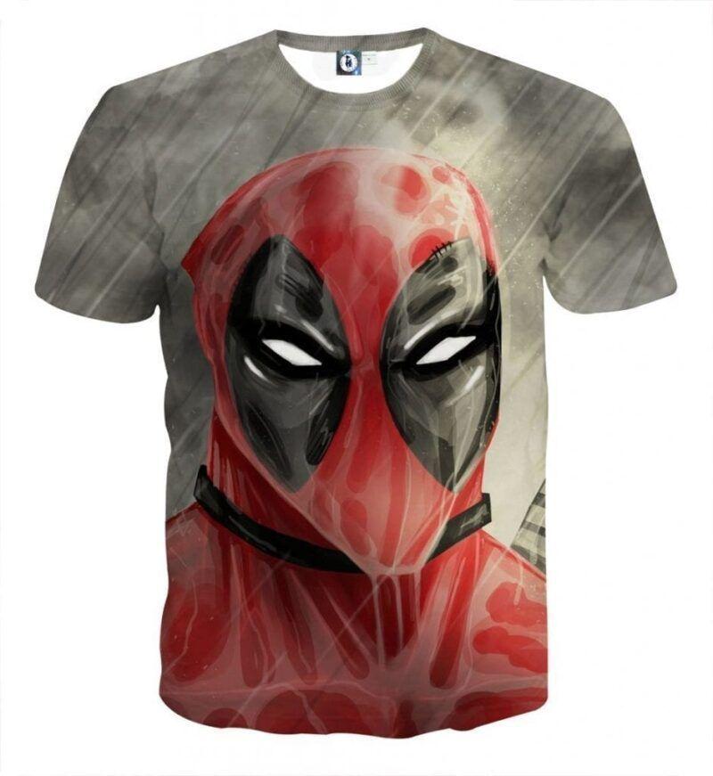 Deadpool Wet Face Portrait In The Rain Amazing Design T-shirt - Superheroes Gears