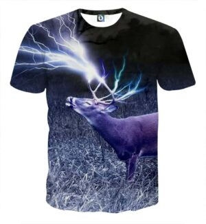 Deer Horn Lighting Power 3D Full Print Winter T-Shirt - Superheroes Gears