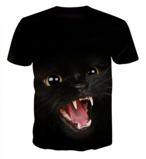 Angry Cat Face Full Print All Black Stylish Cool T-Shirt - Superheroes Gears