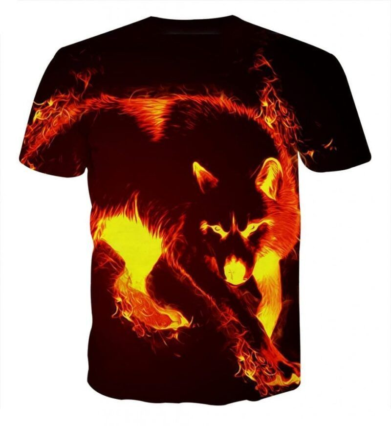 Ferocious Wolf With Blazing Fire Artistic Style T-Shirt