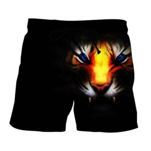 Angry Blue Eyed Tiger With Sharp Teeth Dope Black Boardshorts