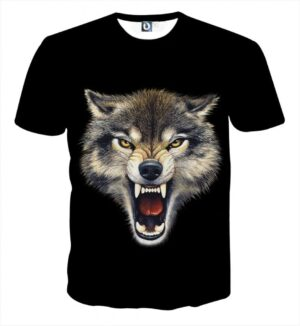 Angry Wolf Fierce Look With Sharp Teeth Dope Black T-Shirt