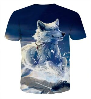 Wolf Wearing Necklace Running On Snow Artistic T-Shirt