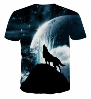 Wolf Silhouette On A Dark Starry Night Sky Stylish T-Shirt