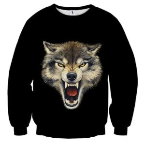 Angry Wolf Fierce Look With Sharp Teeth Black Sweatshirt