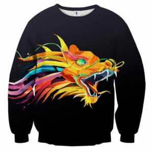 Colorful Dragon Head With Mouth Wide Open Trendy Sweatshirt