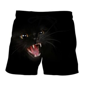 Angry Cat Face Full Print All Black Stylish Cool Shorts - Superheroes Gears