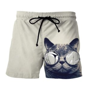 Cat Face Sexy Sunglasses Parody Manga Design Shorts - Superheroes Gears