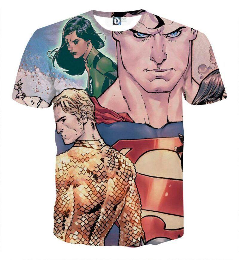 Justice League Superman Aquaman Dope Stare Full Print T-Shirt - Superheroes Gears