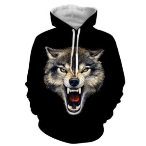 Aggressive Canine Wolf Bite Sharp Fangs Ferocious Hoodie