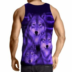 Amazing Fierce Wolves Full Print Design Purple Tank Top