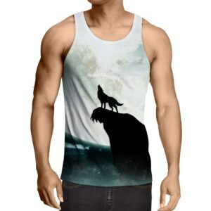 Amazing Full Moon Black Wolf Silhouette Print Tank Top