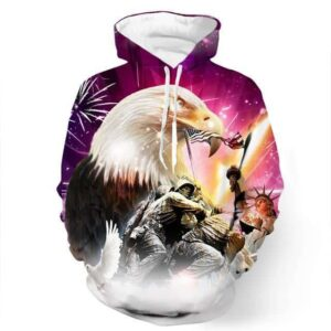 American New York Eagle Warfare Soldier Liberty Statue 3D Hoodie - Superheroes Gears