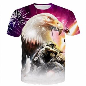 American New York Eagle Warfare Soldier Liberty Statue 3D T-Shirt - Superheroes Gears