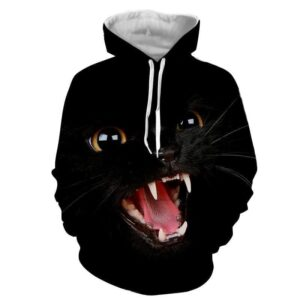 Angry Cat Face Full Print All Black Stylish Cool Hoodie - Superheroes Gears