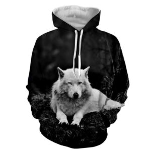 Arctic Wolf Lying Monochrome Photograph Style Hoodie - Superheroes Gears