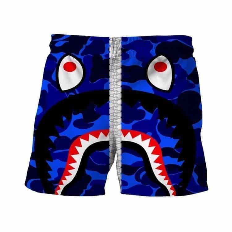Army Camouflage Military Print Funny Crazy Shark Blue 3D Shorts - Superheroes Gears