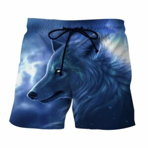 Artistic Wolf Drawing Face Fur Portrait Blue Color Shorts - Superheroes Gears