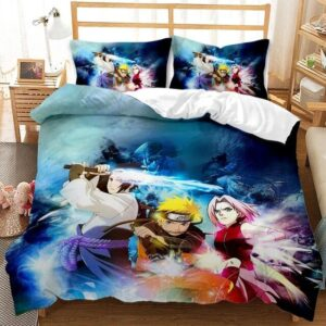 Awesome Sasuke Naruto And Sakura Fight Stance Bedding Set
